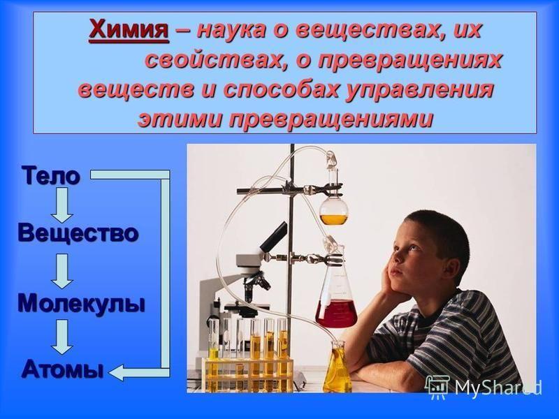 Химия– наука о веществах, их свойствах, о превращениях веществ и способах управления этими превращениями Химия – наука о веществах, их свойствах, о превращениях веществ и способах управления этими превращениями Тело Вещество Молекулы Атомы
