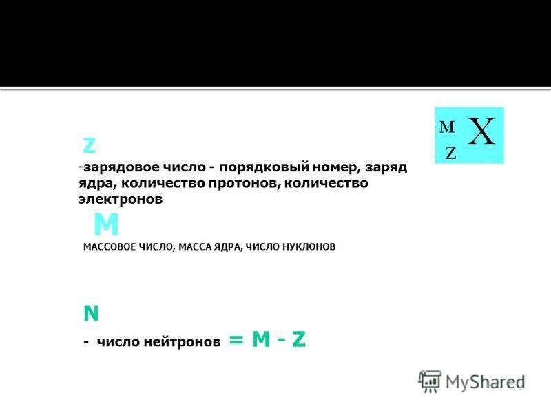 М МАССОВОЕ ЧИСЛО, МАССА ЯДРА, ЧИСЛО НУКЛОНОВ Z -зарядовое число - порядковый номер, заряд ядра, количество протонов, количество электронов N - число нейтронов = М - Z