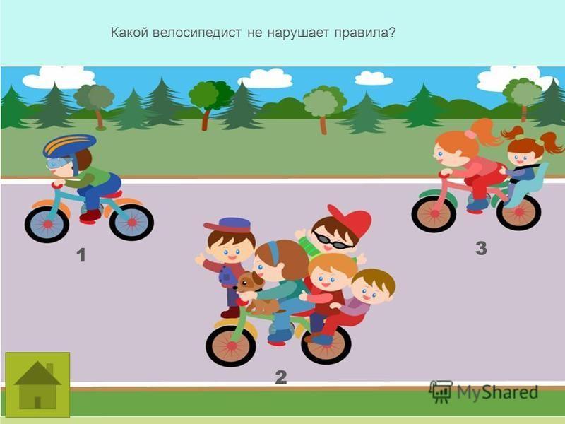 Какой велосипедист не нарушает правила? 1 2 3