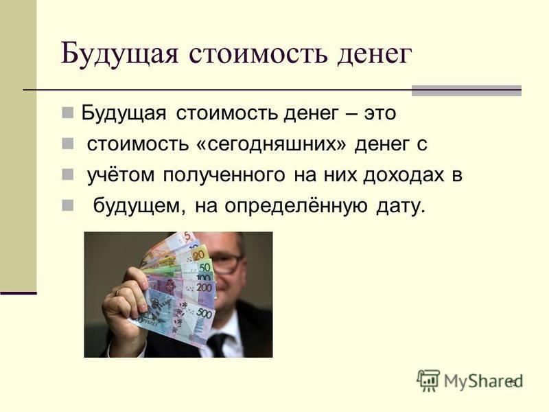 Будущая стоимость денег Будущая стоимость денег – это стоимость «сегодняшних» денег с учётом полученного на них доходах в будущем, на определённую дату. 15