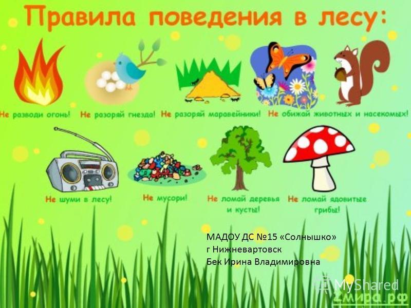МАДОУ ДС 15 «Солнышко» г Нижневартовск Бек Ирина Владимировна