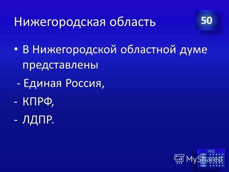 Ответ Нижегородская область Какие политические группы (фракции) представлены в Нижегородской областной думе последнего созыва? 50