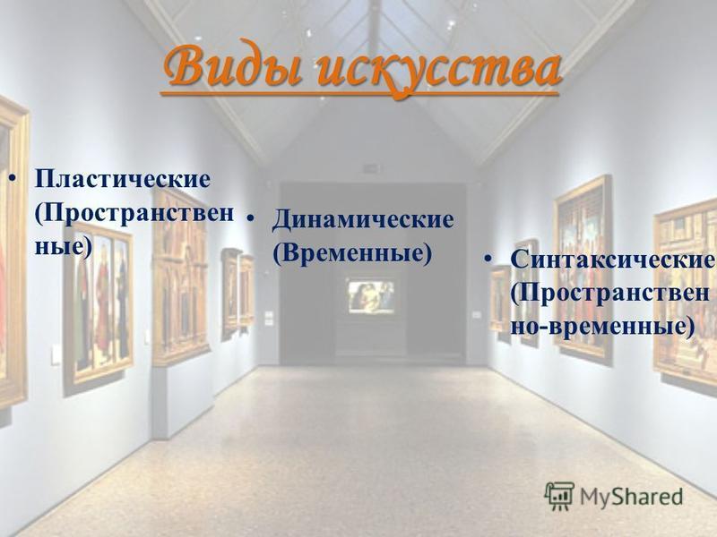 Виды искусства Пластические (Пространствен ные) Динамические (Временные) Синтаксические (Пространствен но-временные)