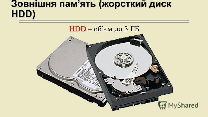 Зовнішня память (жорсткий диск HDD) HDD HDD – обєм до 3 ГБ