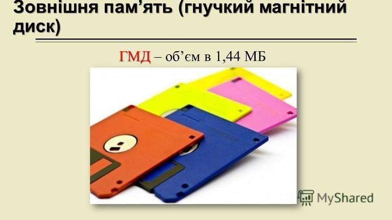 Зовнішня память (гнучкий магнітний диск) ГМД ГМД – обєм в 1,44 МБ