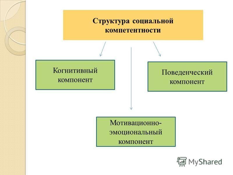 Структура социальной компетентности Когнитивный компонент Поведенческий компонент Мотивационно- эмоциональный компонент