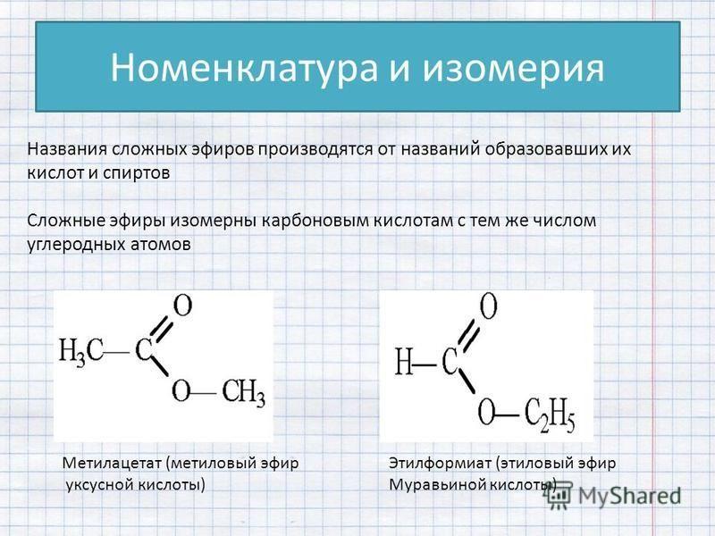 Номенклатура и изомерия Названия сложных эфиров производятся от названий образовавших их кислот и спиртов Сложные эфиры изомерны карбоновым кислотам с тем же числом углеродных атомов Метилацетат (метиловый эфир уксусной кислоты) Этилформиат (этиловый
