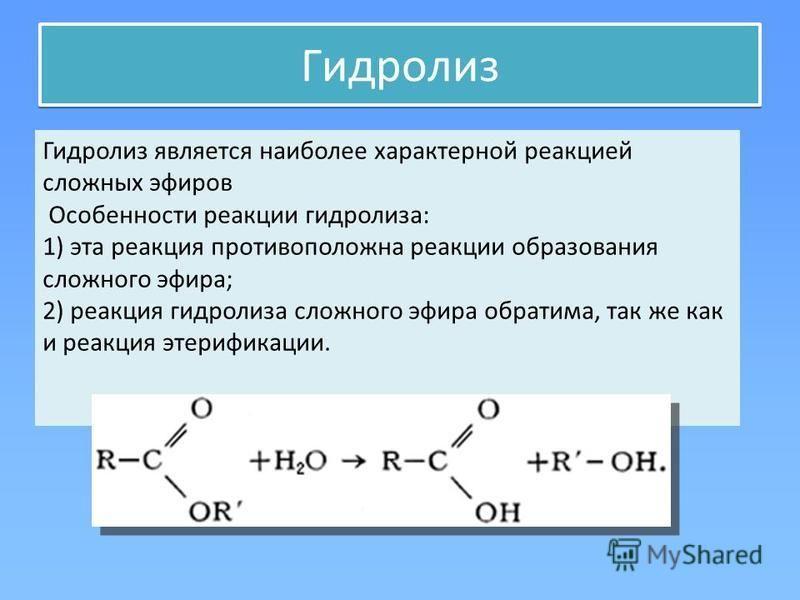 Гидролиз является наиболее характерной реакцией сложных эфиров Особенности реакции гидролиза: 1) эта реакция противоположна реакции образования сложного эфира; 2) реакция гидролиза сложного эфира обратима, так же как и реакция этерификации.