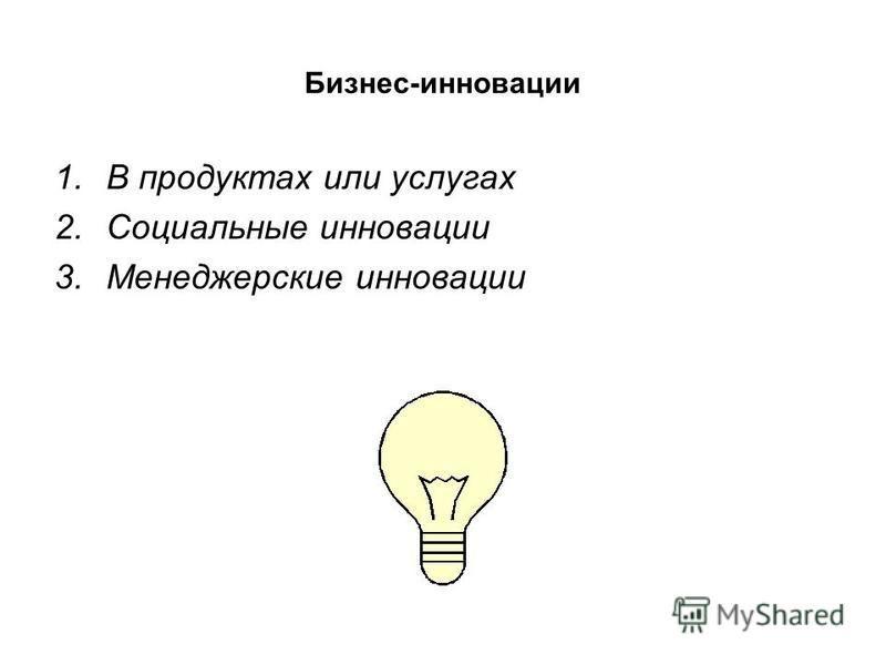 Бизнес-инновации 1. В продуктах или услугах 2. Социальные инновации 3. Менеджерские инновации