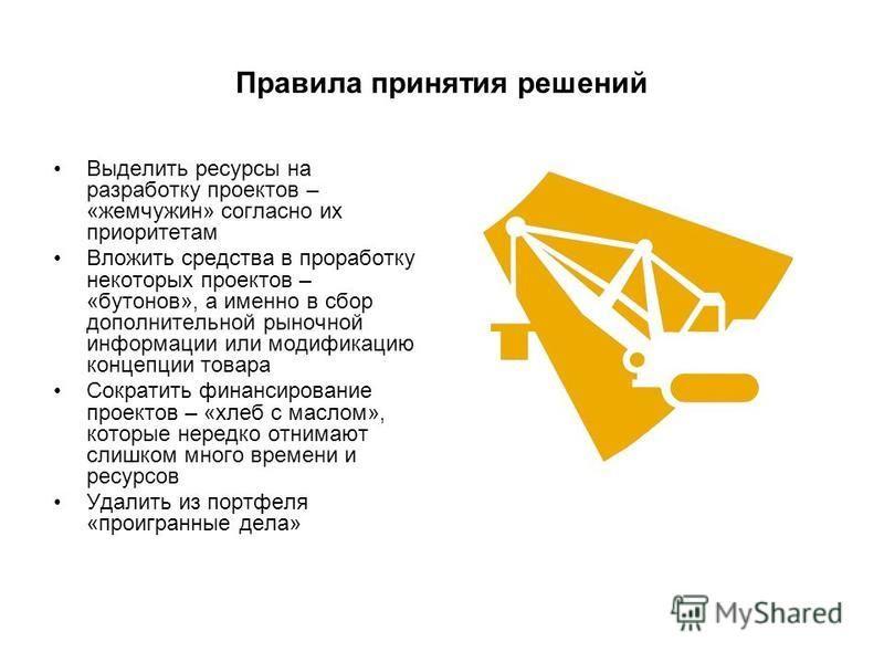 Правила принятия решений Выделить ресурсы на разработку проектов – «жемчужин» согласно их приоритетам Вложить средства в проработку некоторых проектов – «бутонов», а именно в сбор дополнительной рыночной информации или модификацию концепции товара Со