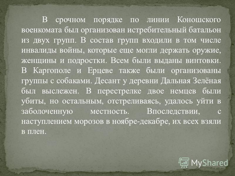 В срочном порядке по линии Коношского военкомата был организован истребительный батальон из двух групп. В состав групп входили в том числе инвалиды войны, которые еще могли держать оружие, женщины и подростки. Всем были выданы винтовки. В Каргополе и