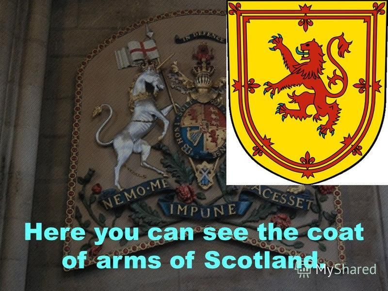 Here you can see the coat of arms of Scotland.