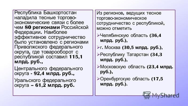 Республика Башкортостан наладила тесные торгово - экономические связи с более чем 80 регионами Российской Федерации. Наиболее эффективное сотрудничество было установлено с регионами Приволжского федерального округа, где товарооборот с республикой сос