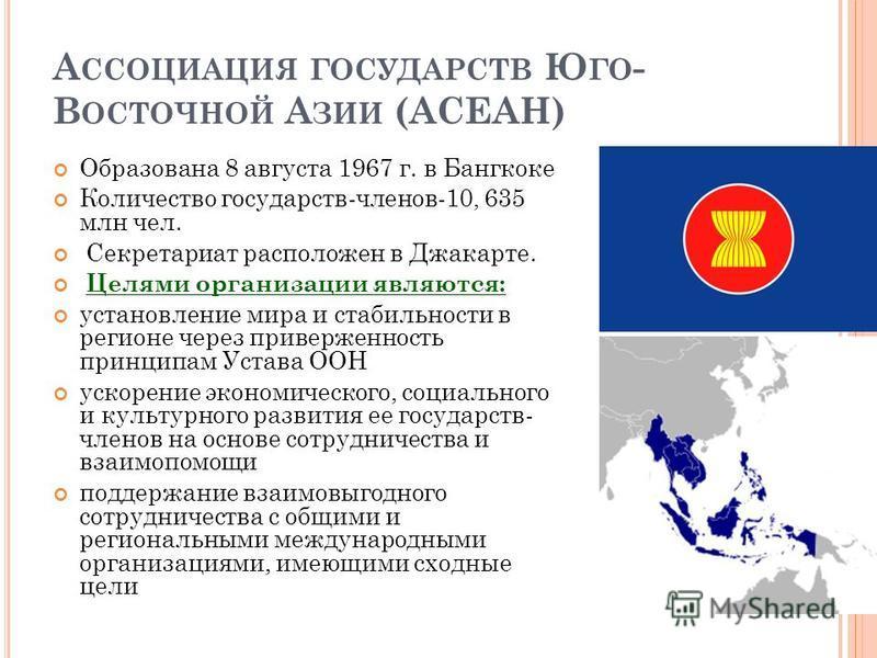 А ССОЦИАЦИЯ ГОСУДАРСТВ Ю ГО - В ОСТОЧНОЙ А ЗИИ (АСЕАН) Образована 8 августа 1967 г. в Бангкоке Количество государств-членов-10, 635 млн чел. Секретариат расположен в Джакарте. Целями организации являются: установление мира и стабильности в регионе че