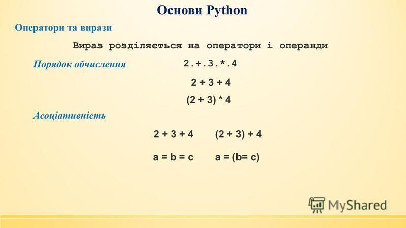 Основи Python Оператори та вирази Порядок обчислення 2.+.3.*.42.+.3.*.4 Вираз розділяється на оператори і операнди 2 + 3 + 4 (2 + 3) * 4 Асоціативність 2 + 3 + 4(2 + 3) + 4 a = b = ca = (b= c)