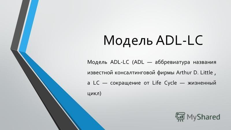 Модель ADL-LC Модель ADL-LC (ADL аббревиатура названия известной консалтинговой фирмы Arthur D. Little, a LC сокращение от Life Cycle жизненный цикл)