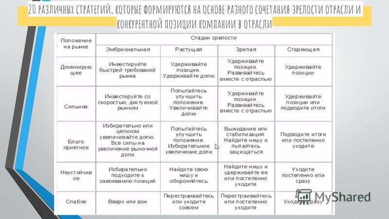 20 различных стратегий, которые формируются на основе разного сочетания зрелости отрасли и конкурентной позиции компании в отрасли