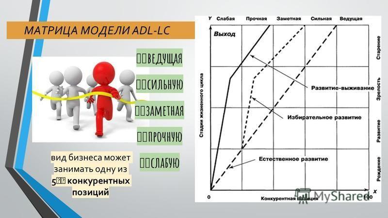 МАТРИЦА МОДЕЛИ ADL-LC вид бизнеса может занимать одну из 5 конкурентных позиций ведущая сильную заметная прочную слабую