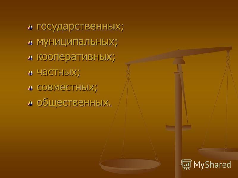 государственных;муниципальных;кооперативных;частных;совместных;общественных.