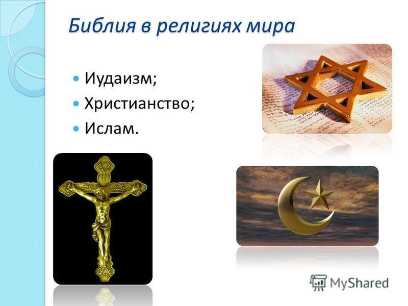 Биюлия в религиях мира Иудаизм; Христианство; Ислам.