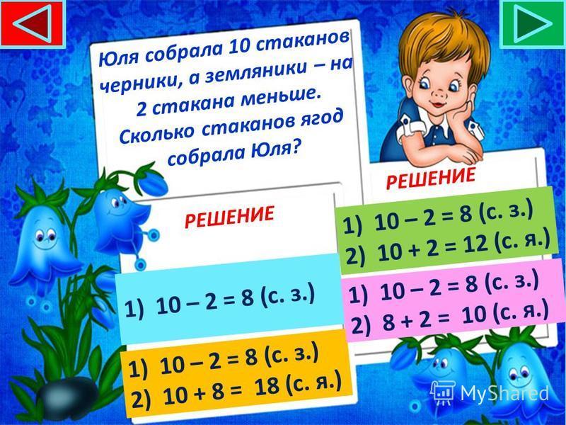 На одном кусте расцвели 9 роз, на другом – на 5 роз больше. Сколько роз распустилось на двух кустах? РЕШЕНИЕ 1)9 + 5 = 14 (р.)9 + 5 = 14 (р.) 1)9 + 5 = 14 (р.)9 + 5 = 14 (р.) 2)9 + 14 = 23 (р.)9 + 14 = 23 (р.) 1)9 – 5 = 4 (р.)9 – 5 = 4 (р.) 2)9 + 4 =