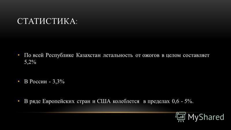 СТАТИСТИКА : По всей Республике Казахстан летальность от ожогов в целом составляет 5,2% В России - 3,3% В ряде Европейских стран и США колеблется в пределах 0,6 - 5%.