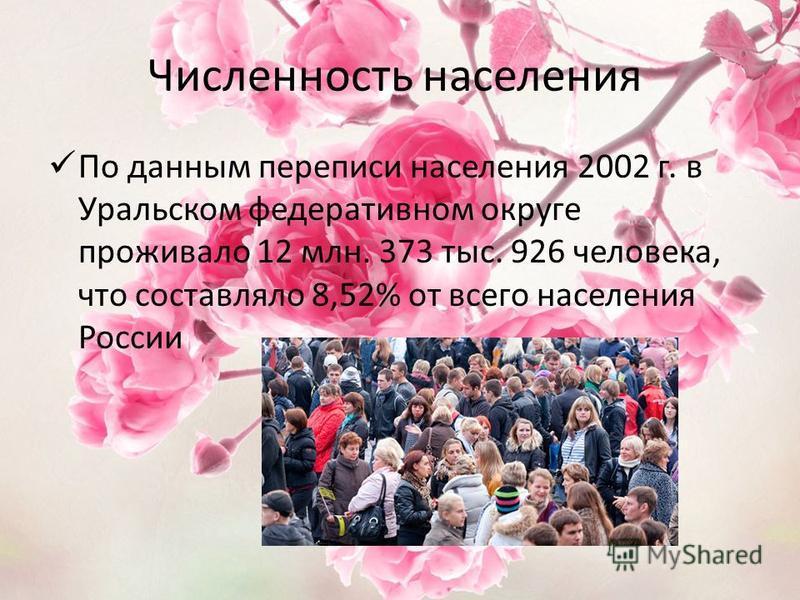 Численность населения По данным переписи населения 2002 г. в Уральском федеративном округе проживало 12 млн. 373 тыс. 926 человека, что составляло 8,52% от всего населения России