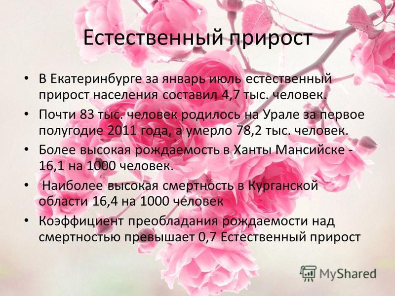 Естественный прирост В Екатеринбурге за январь июль естественный прирост населения составил 4,7 тыс. человек. Почти 83 тыс. человек родилось на Урале за первое полугодие 2011 года, а умерло 78,2 тыс. человек. Более высокая рождаемость в Ханты Мансийс