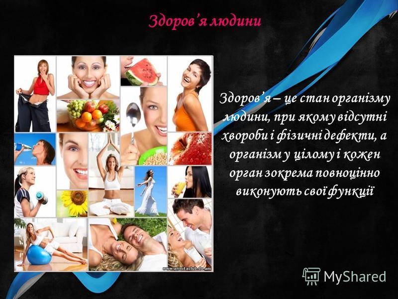 Здоровя людини Здоровя – це стан організму людини, при якому відсутні хвороби і фізичні дефекти, а організм у цілому і кожен орган зокрема повноцінно виконують свої функції