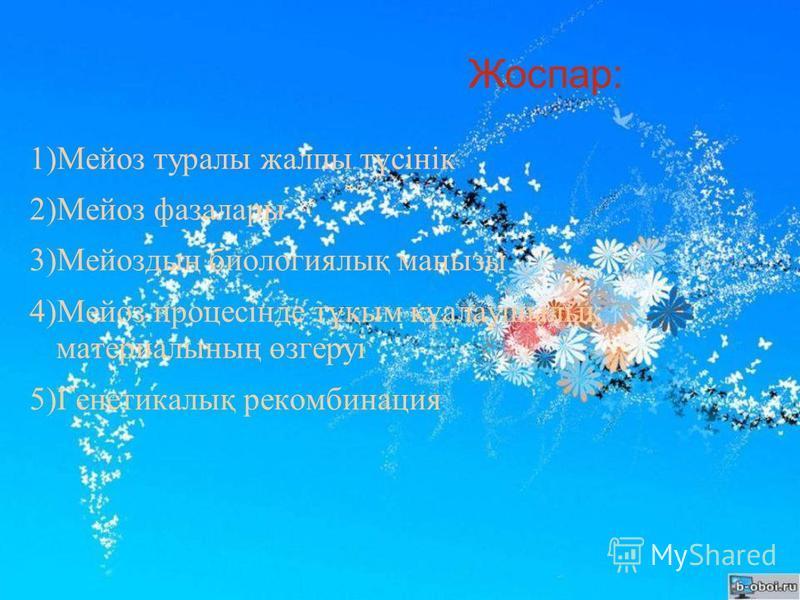 Жоспар: 1)Мейоз туралы жалпы түсінік 2)Мейоз фаза лары 3)Мейоздың биологиялық маңызы 4)Мейоз процесінде тұқым құалаушылық материалының өзгеруі 5)Генетикалық рекомбинация