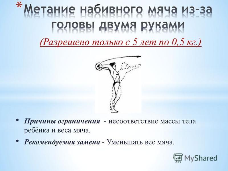 Причины ограничения - несоответствие массы тела ребёнка и веса мяча. Рекомендуемая замена - Уменьшать вес мяча. (Разрешено только с 5 лет по 0,5 кг.)
