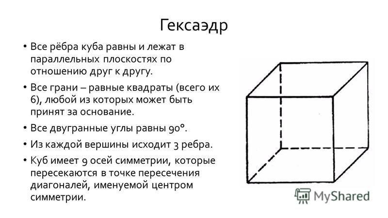 Гексаэдр Все рёбра куба равны и лежат в параллельных плоскостях по отношению друг к другу. Все грани – равные квадраты (всего их 6), любой из которых может быть принят за основание. Все двугранные углы равны 90°. Из каждой вершины исходит 3 ребра. Ку
