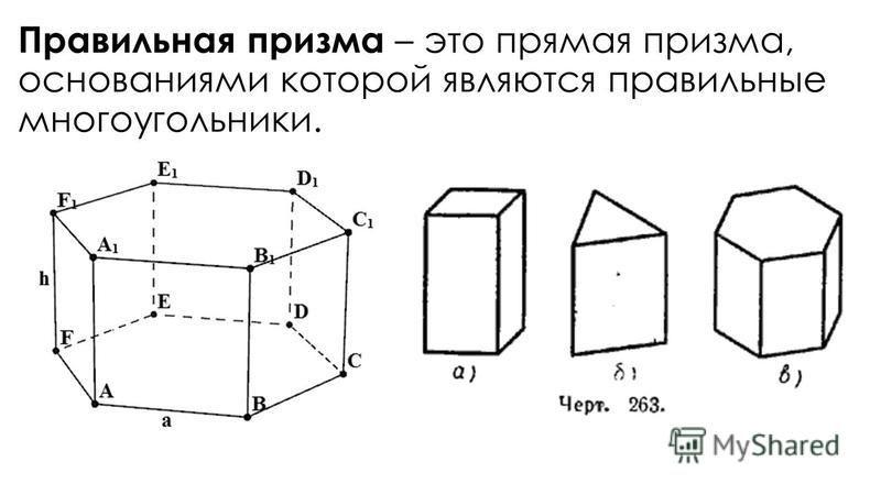 Правильная призма – это прямая призма, основаниями которой являются правильные многоугольники.