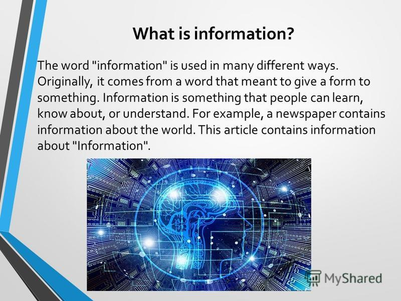 What is information? The word