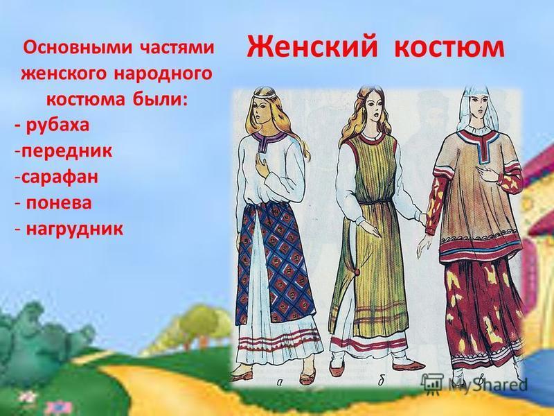 Женский костюм Основными частями женского народного костюма были: - рубаха -передник -сарафан - понева - нагрудник