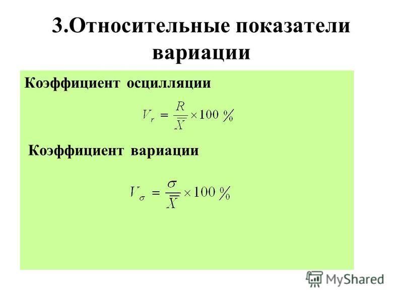 3. Относительные показатели вариации Коэффициент осцилляции Коэффициент вариации