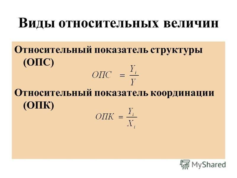 Виды относительных величин Относительный показатель структуры (ОПС) Относительный показатель координации (ОПК)