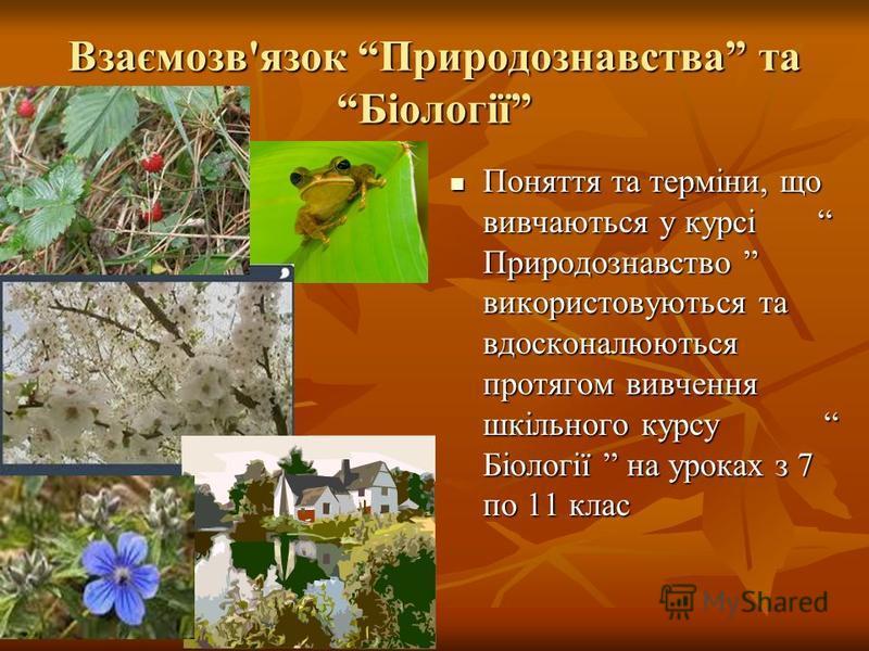Взаємозв'язок Природознавства та Біології Поняття та терміни, що вивчаються у курсі Природознавство використовуються та вдосконалюються протягом вивчення шкільного курсу Біології на уроках з 7 по 11 клас Поняття та терміни, що вивчаються у курсі Прир