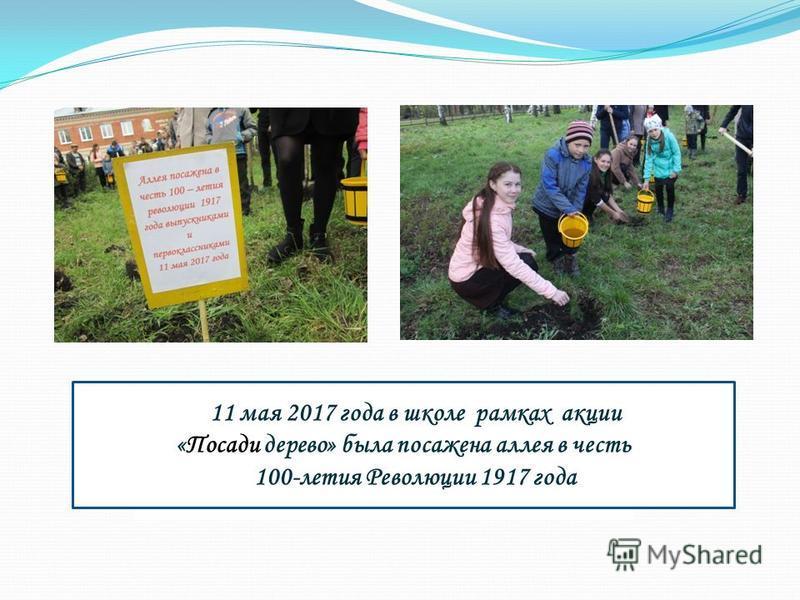 11 мая 2017 года в школе рамках акции «Посади дерево» была посажена аллея в честь 100-летия Революции 1917 года
