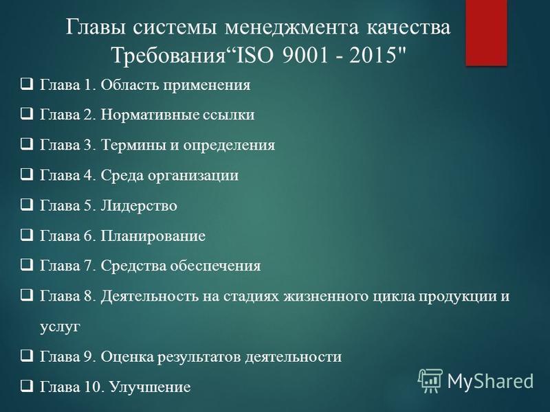 Главы системы менеджмента качества ТребованияISO 9001 - 2015
