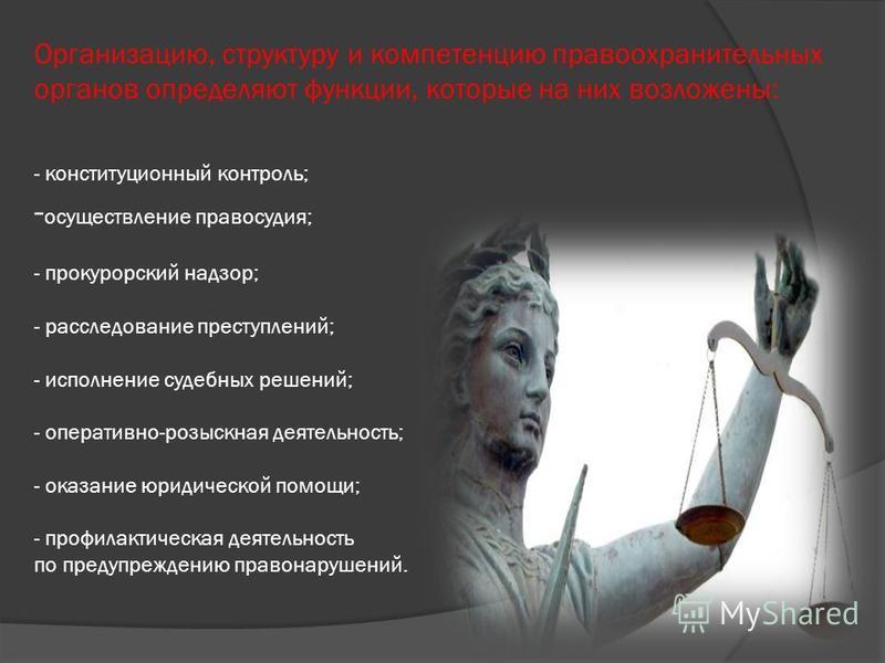 Организацию, структуру и компетенцию правоохранительных органов определяют функции, которые на них возложены: - конституционный контроль; - осуществление правосудия; - прокурорский надзор; - расследование преступлений; - исполнение судебных решений;