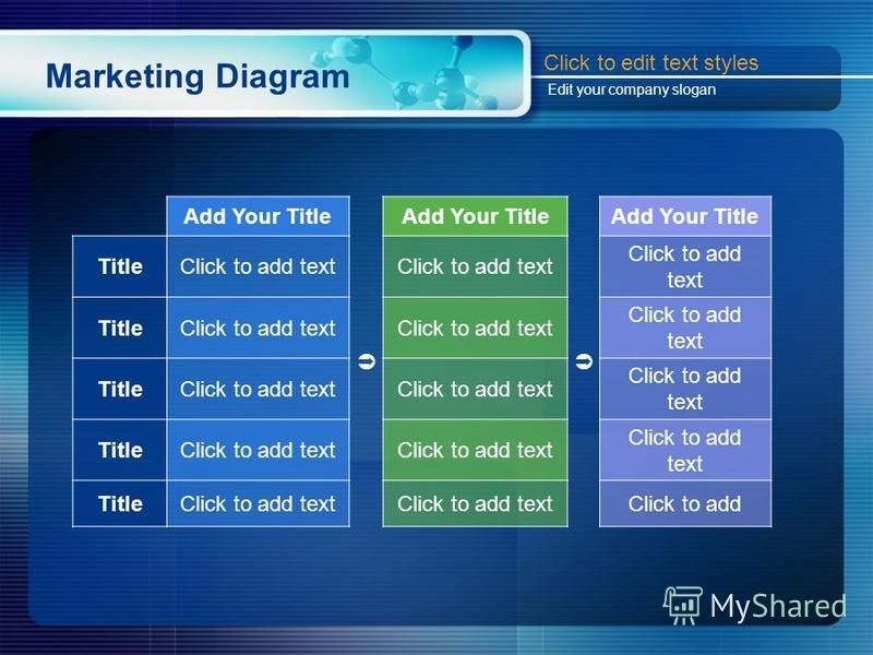 Marketing Diagram Add Your Title Add Your Title Add Your Title TitleClick to add text TitleClick to add text TitleClick to add text TitleClick to add text TitleClick to add text Click to add Click to edit text styles Edit your company slogan