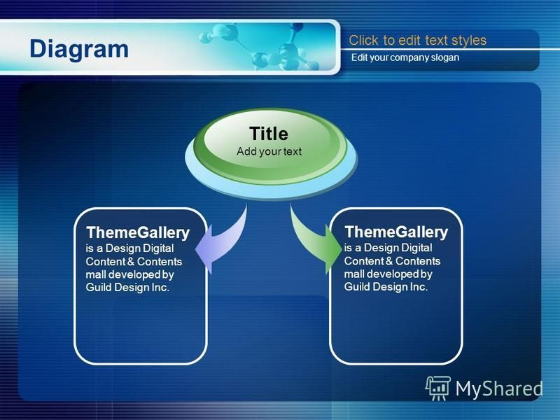 Diagram ThemeGallery is a Design Digital Content & Contents mall developed by Guild Design Inc. Title Add your text Click to edit text styles Edit your company slogan