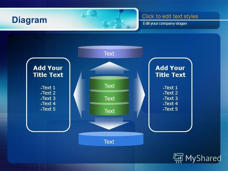 Diagram Text Add Your Title Text Text 1 Text 2 Text 3 Text 4 Text 5 Add Your Title Text Text 1 Text 2 Text 3 Text 4 Text 5 Text Click to edit text styles Edit your company slogan