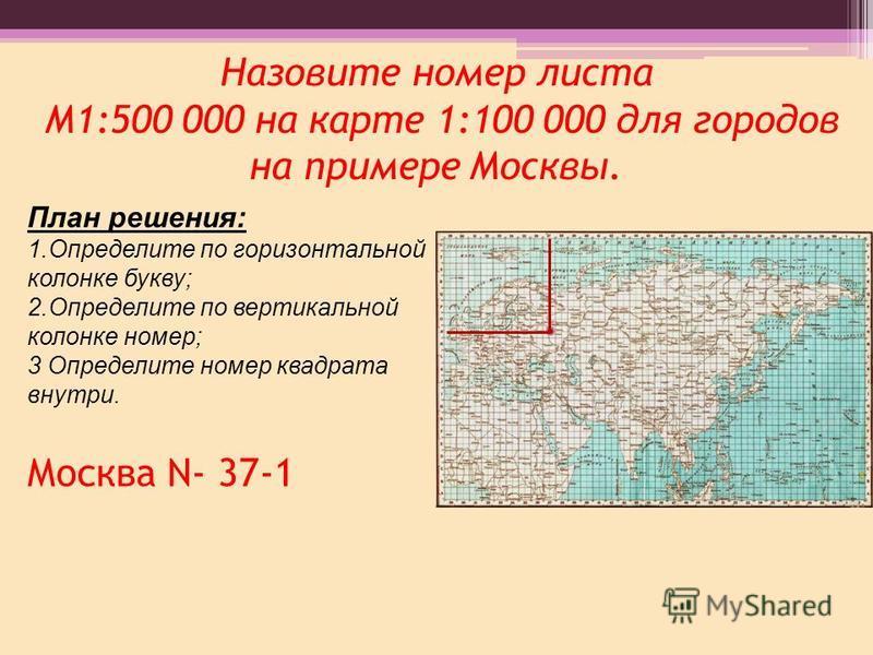 Назовите номер листа М1:500 000 на карте 1:100 000 для городов на примере Москвы. Москва N- 37-1 План решения: 1. Определите по горизонтальной колонке букву; 2. Определите по вертикальной колонке номер; 3 Определите номер квадрата внутри.