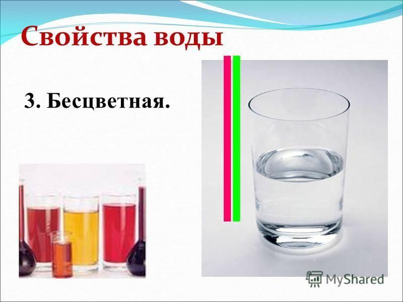 Свойства воды 3. Бесцветная.
