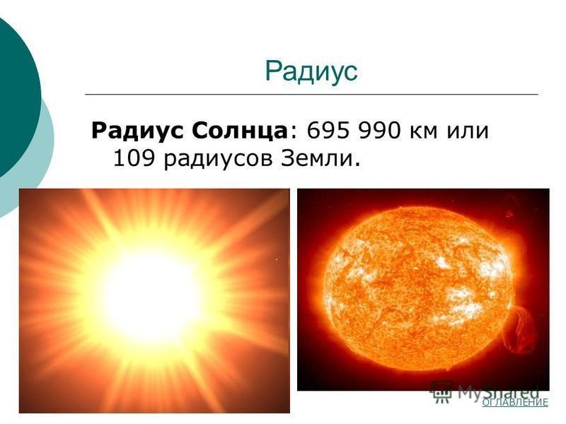 Радиус Радиус Солнца: 695 990 км или 109 радиусов Земли. ОГЛАВЛЕНИЕ