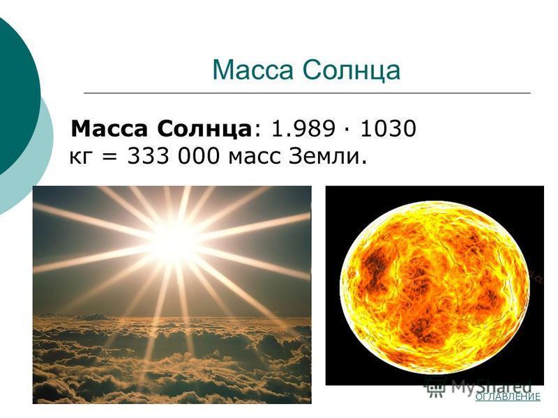 Масса Солнца Масса Солнца: 1.989 · 1030 кг = 333 000 масс Земли. ОГЛАВЛЕНИЕ