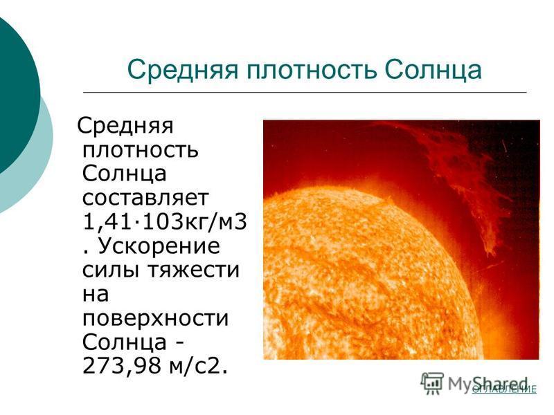 Средняя плотность Солнца Средняя плотность Солнца составляет 1,41·103 кг/м 3. Ускорение силы тяжести на поверхности Солнца - 273,98 м/с 2. ОГЛАВЛЕНИЕ
