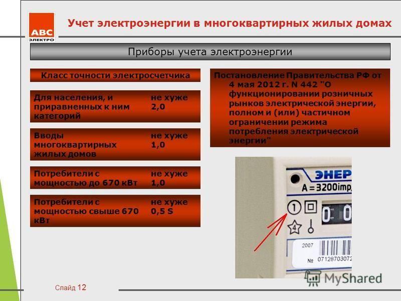 Слайд 12 Учет электроэнергии в многоквартирных жилых домах Приборы учета электроэнергии Класс точности электросчетчика Постановление Правительства РФ от 4 мая 2012 г. N 442